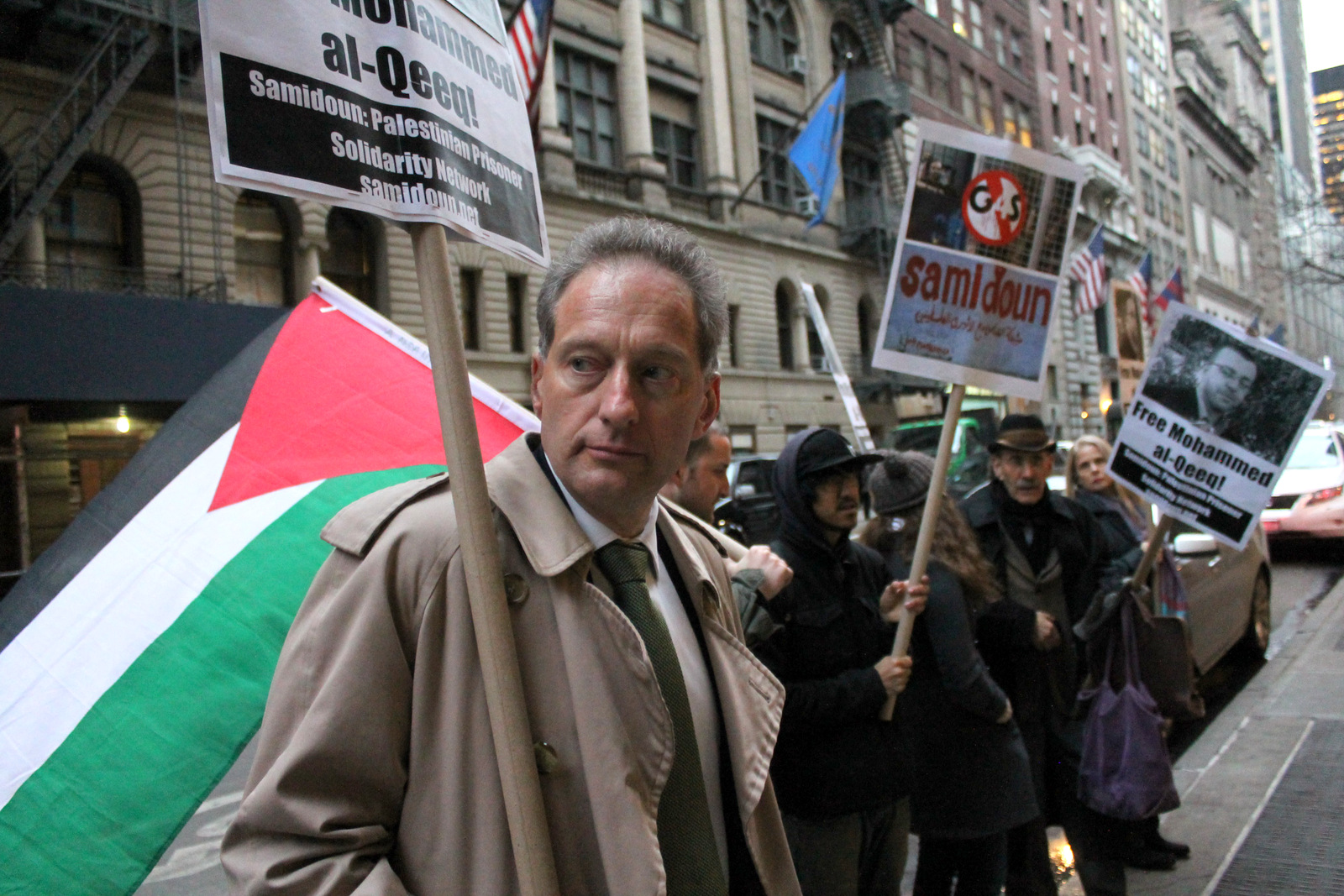 New Yorkers took to the streets on Friday, 29 January to demand the immediate release of imprisoned Palestinian journalist Mohammed al-Qeeq, on his 66th day of hunger strike and shackled to his hospital bed in critical condition. (Photo: Joe Catron/MintPress News)