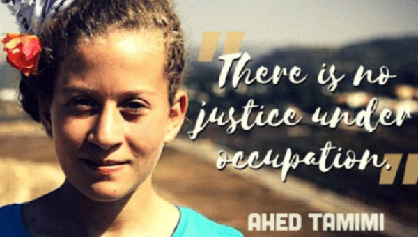 Ahed Tamimi, the 17-year-old Palestinian girl was sentenced to eight months in prison. | Photo: Twitter / Jewish Voice for Peace