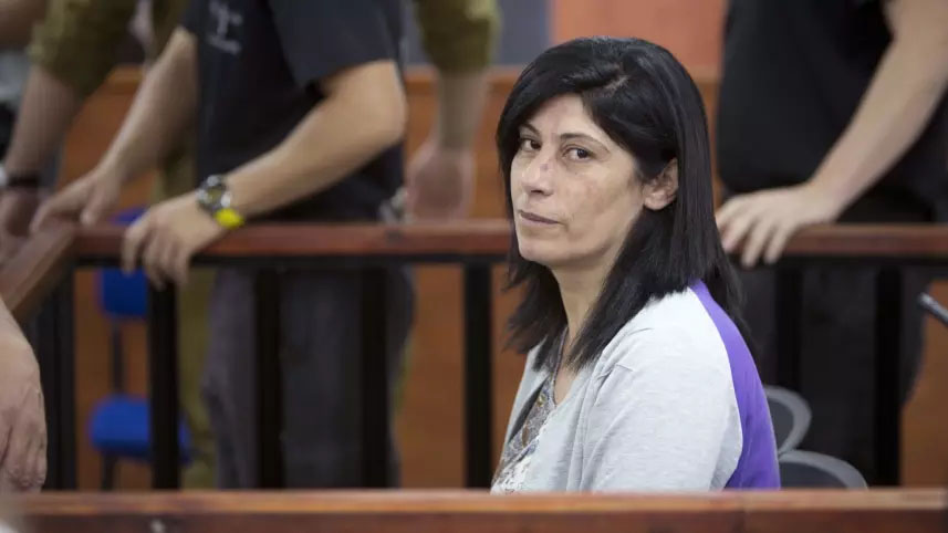 Khalida Jarrar in the courtroom of the Ofer detention facility, in May.AP