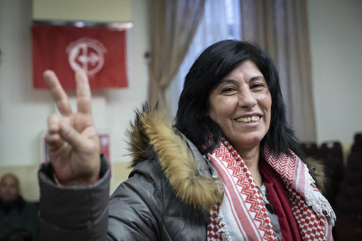 Palestinian lawmaker Khalida Jarrar seen following her release from 20 months of administrative detention, Ramallah, West Bank, February 28, 2018. (Oren Ziv/Activestills.org)
