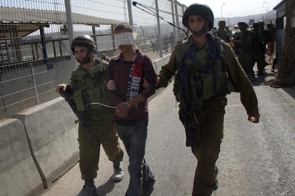 Illustrative photo of Israeli soldiers detain a blindfolded Palestinian child. (Wagdi Ashtiyeh/Flash90)