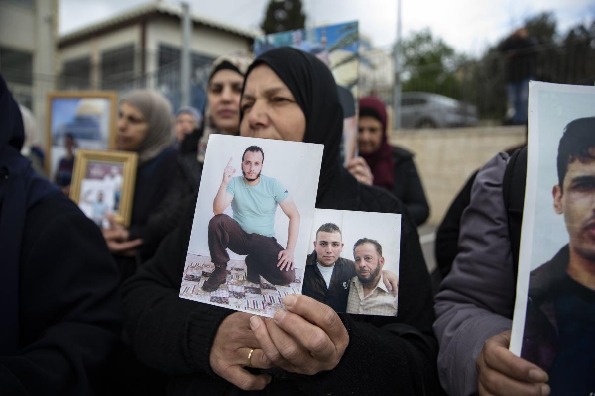 Palestinians demanding the release of Palestinian prisoners held in Israeli jails, stage a demonstration in Jerusalem on 26 March 2019 [Faiz Abu Rmeleh/Anadolu Agency]