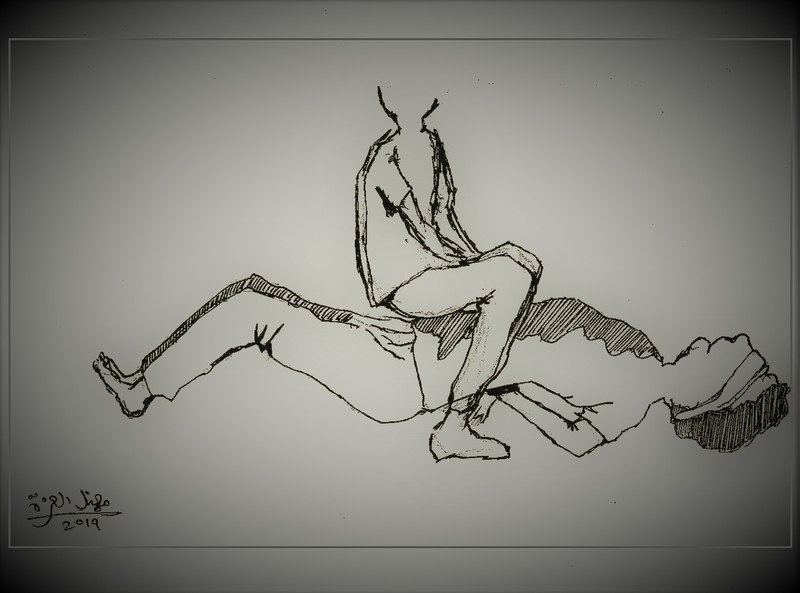 Sketch depicts one of several stress positions Israeli prison officers use against Palestinian detainees. (via Addameer)
