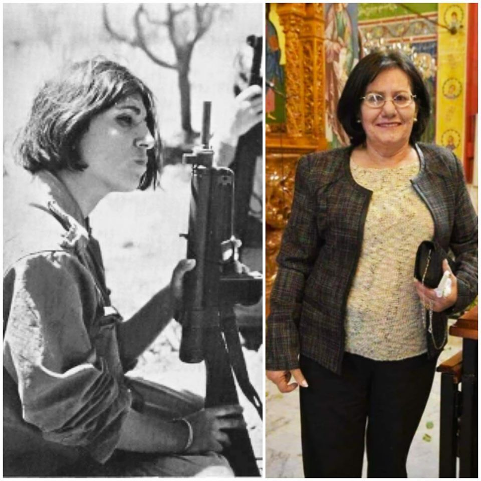 Therese Halasa as a young fighter in the camps and later in life, living in Amman after her release.